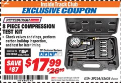 Harbor Freight ITC Coupon 8 PIECE COMPRESSION TEST KIT Lot No. 62638/69885 Expired: 10/31/19 - $17.99