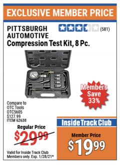Harbor Freight ITC Coupon 8 PIECE COMPRESSION TEST KIT Lot No. 62638/69885 Valid Thru: 1/28/21 - $19.99