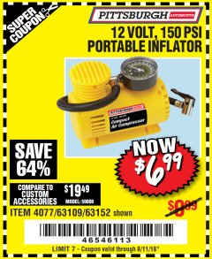 Harbor Freight Coupon 12 VOLT, 250 PSI AIR COMPRESSOR Lot No. 4077/61740 Expired: 8/11/18 - $6.99