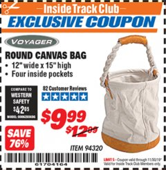 Harbor Freight ITC Coupon ROUND CANVAS BAG Lot No. 94320 Expired: 11/30/19 - $9.99
