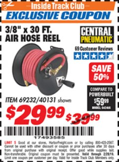 "Harbor Freight ITC Coupon 3/8"" X 50 FT. AIR HOSE REEL Lot No. 40131/69232 Dates Valid: 2/1/19 - 2/28/19 - $29.99"