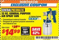 Harbor Freight ITC Coupon 32 OZ. GENERAL PURPOSE AIR SPRAY GUN Lot No. 93205 Dates Valid: 12/31/69 - 2/28/19 - $14.99