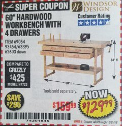 "Harbor Freight Coupon 60"" WORKBENCH WITH FOUR DRAWERS Lot No. 62603/93454/69054 Expired: 10/31/18 - $129.99"