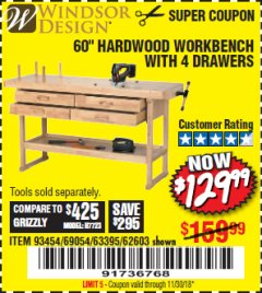 "Harbor Freight Coupon 60"" WORKBENCH WITH FOUR DRAWERS Lot No. 62603/93454/69054 Valid Thru: 11/30/18 - $129.99"