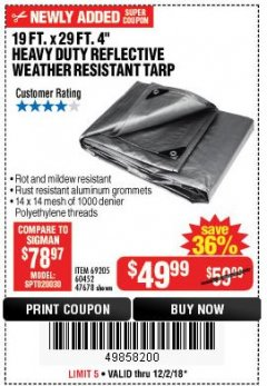 "Harbor Freight Coupon 19 FT. X 29 FT. 4"" HEAVY DUTY REFLECTIVE ALL PURPOSE TARP Lot No. 47678/60452/69205 Expired: 12/2/18 - $49.99"