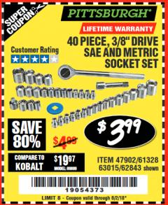 "Harbor Freight Coupon 40 PIECE 1/4"" AND 3/8"" DRIVE SOCKET SET Lot No. 61328/62843/63015/47902 Expired: 6/2/18 - $3.99"