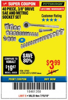 "Harbor Freight Coupon 40 PIECE 1/4"" AND 3/8"" DRIVE SOCKET SET Lot No. 61328/62843/63015/47902 Expired: 7/15/18 - $3.99"