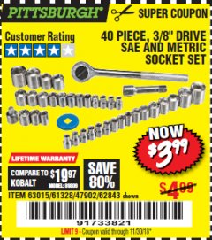 "Harbor Freight Coupon 40 PIECE 1/4"" AND 3/8"" DRIVE SOCKET SET Lot No. 61328/62843/63015/47902 Expired: 11/30/18 - $3.99"