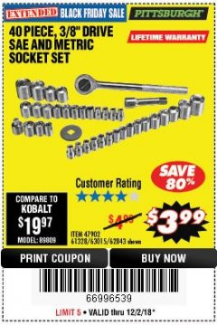 "Harbor Freight Coupon 40 PIECE 1/4"" AND 3/8"" DRIVE SOCKET SET Lot No. 61328/62843/63015/47902 Expired: 12/2/18 - $3.99"
