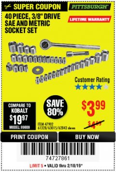 "Harbor Freight Coupon 40 PIECE 1/4"" AND 3/8"" DRIVE SOCKET SET Lot No. 61328/62843/63015/47902 Expired: 2/24/19 - $3.99"