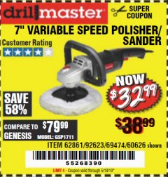 "Harbor Freight Coupon 7"" VARIABLE SPEED POLISHER/SANDER Lot No. 62861/92623/60626 Expired: 5/18/19 - $32.99"