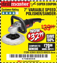 "Harbor Freight Coupon 7"" VARIABLE SPEED POLISHER/SANDER Lot No. 62861/92623/60626 Valid Thru: 2/4/20 - $32.99"