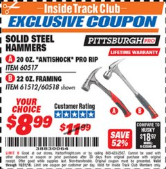 Harbor Freight ITC Coupon STEEL PROFESSIONAL HAMMERS Lot No. 60517/38383/61512/60518 Expired: 10/31/18 - $8.99