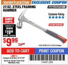 Harbor Freight ITC Coupon STEEL PROFESSIONAL HAMMERS Lot No. 60517/38383/61512/60518 Expired: 12/17/19 - $9.99
