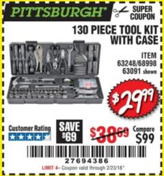 Harbor Freight Coupon 130 PIECE TOOL KIT WITH CASE Lot No. 68998/69331/63091/63248 Valid: 12/28/17 2/23/08 - $29.99