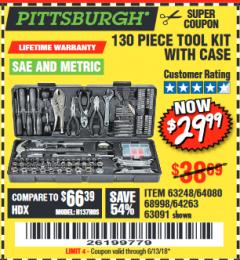 Harbor Freight Coupon 130 PIECE TOOL KIT WITH CASE Lot No. 68998/69331/63091/63248 Expired: 6/13/18 - $29.99