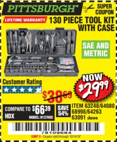 Harbor Freight Coupon 130 PIECE TOOL KIT WITH CASE Lot No. 68998/69331/63091/63248 Valid Thru: 10/14/18 - $29.99