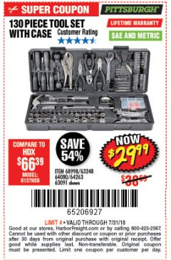 Harbor Freight Coupon 130 PIECE TOOL KIT WITH CASE Lot No. 68998/69331/63091/63248 Expired: 7/31/18 - $29.99