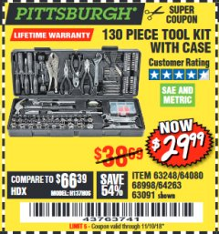 Harbor Freight Coupon 130 PIECE TOOL KIT WITH CASE Lot No. 68998/69331/63091/63248 Valid Thru: 11/10/18 - $29.99