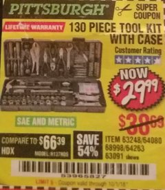 Harbor Freight Coupon 130 PIECE TOOL KIT WITH CASE Lot No. 68998/69331/63091/63248 Valid Thru: 10/1/18 - $29.99