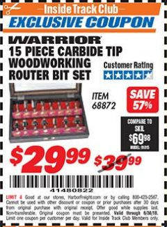 Harbor Freight ITC Coupon 15 PIECE CARBIDE TIP WOODWORKING ROUTER BIT SET Lot No. 68872 Dates Valid: 12/31/69 - 6/30/18 - $29.99