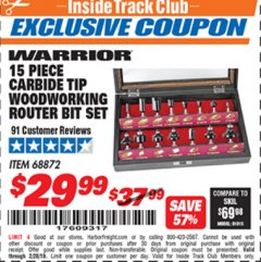 Harbor Freight ITC Coupon 15 PIECE CARBIDE TIP WOODWORKING ROUTER BIT SET Lot No. 68872 Valid Thru: 2/28/19 - $29.99