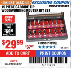 Harbor Freight ITC Coupon 15 PIECE CARBIDE TIP WOODWORKING ROUTER BIT SET Lot No. 68872 Expired: 8/6/19 - $29.99