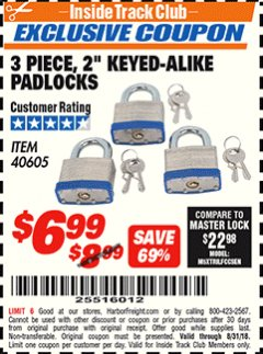 "Harbor Freight ITC Coupon 3 PIECE 2"" KEYED ALIKE PADLOCKS Lot No. 40605 Expired: 8/31/18 - $6.99"