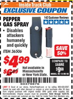 Harbor Freight ITC Coupon PEPPER GAS SPRAY Lot No. 36506 Expired: 12/31/18 - $4.99