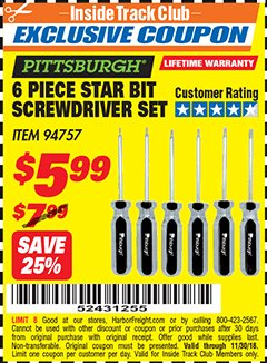 Harbor Freight ITC Coupon 6 PIECE STAR BIT SCREWDRIVER SET Lot No. 94757 Expired: 11/30/18 - $5.99
