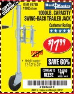 Harbor Freight Coupon 1000 LB. CAPACITY SWING-BACK TRAILER JACK Lot No. 41005/69780 Expired: 7/28/18 - $17.99