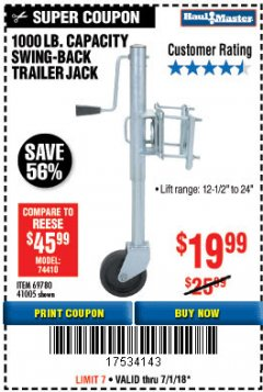 Harbor Freight Coupon 1000 LB. CAPACITY SWING-BACK TRAILER JACK Lot No. 41005/69780 Expired: 7/31/18 - $19.99