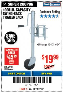 Harbor Freight Coupon 1000 LB. CAPACITY SWING-BACK TRAILER JACK Lot No. 41005/69780 Expired: 7/22/18 - $19.99