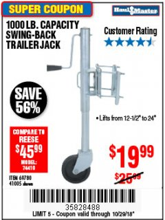 Harbor Freight Coupon 1000 LB. CAPACITY SWING-BACK TRAILER JACK Lot No. 41005/69780 Expired: 10/29/18 - $19.99