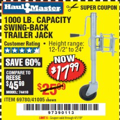 Harbor Freight Coupon 1000 LB. CAPACITY SWING-BACK TRAILER JACK Lot No. 41005/69780 Valid Thru: 4/1/19 - $17.99