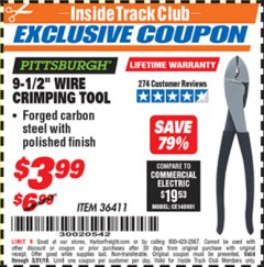 "Harbor Freight ITC Coupon 9-1/2"" WIRE CRIMPING TOOL Lot No. 36411 Valid Thru: 3/31/19 - $3.99"