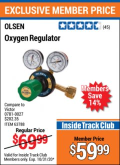 Harbor Freight ITC Coupon OXYGEN REGULATOR Lot No. 63788 Valid Thru: 10/31/20 - $59.99