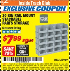 Harbor Freight ITC Coupon 20 BIN RAIL MOUNT STACKABLE PARTS STORAGE Lot No. 41949 Dates Valid: 12/31/69 - 10/31/18 - $7.99
