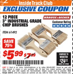 "Harbor Freight ITC Coupon 3"" INDUSTRIAL GRADE CHIP BRUSHES PACK OF 12 Lot No. 4183/61492 Expired: 9/30/18 - $5.99"