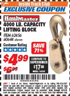Harbor Freight ITC Coupon LIFTING BLOCK Lot No. 62456/60644 Expired: 5/31/18 - $4.99