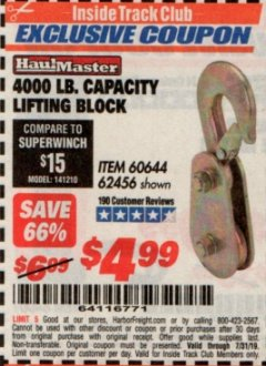 Harbor Freight ITC Coupon LIFTING BLOCK Lot No. 62456/60644 Valid Thru: 7/31/19 - $4.99