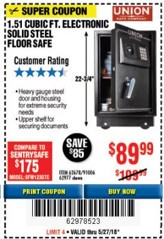 Harbor Freight Coupon 1.51 CUBIC FT. SOLID STEEL DIGITAL FLOOR SAFE Lot No. 61565/62678/91006 Expired: 5/27/18 - $89.99