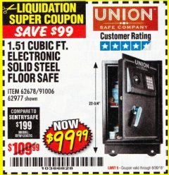 Harbor Freight Coupon 1.51 CUBIC FT. SOLID STEEL DIGITAL FLOOR SAFE Lot No. 61565/62678/91006 Expired: 6/30/18 - $99.99