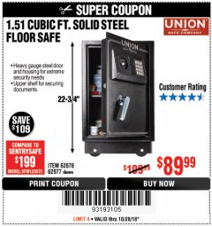 Harbor Freight Coupon 1.51 CUBIC FT. SOLID STEEL DIGITAL FLOOR SAFE Lot No. 61565/62678/91006 Expired: 10/28/18 - $89.99