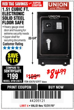 Harbor Freight Coupon 1.51 CUBIC FT. SOLID STEEL DIGITAL FLOOR SAFE Lot No. 61565/62678/91006 Expired: 12/31/18 - $84.99