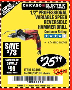 "Harbor Freight Coupon 1/2"" PROFESSIONAL VARIABLE SPEED REVERSIBLE HAMMER DRILL Lot No. 68169/67616/60495/62383 Expired: 6/2/18 - $25.99"