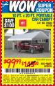 Harbor Freight Coupon 10 FT. x 20 FT. PORTABLE CAR CANOPY Lot No. 69034/60728 Expired: 7/25/15 - $99.99