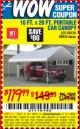 Harbor Freight Coupon 10 FT. x 20 FT. PORTABLE CAR CANOPY Lot No. 69034/60728 Expired: 9/26/15 - $119.99