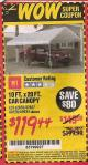 Harbor Freight Coupon 10 FT. x 20 FT. PORTABLE CAR CANOPY Lot No. 69034/60728 Expired: 9/30/15 - $119.44