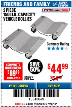 Harbor Freight Coupon 2 PIECE 1500 LB. CAPACITY VEHICLE WHEEL DOLLIES Lot No. 60343/67338 Expired: 7/22/18 - $44.99